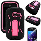 MINITURTLE(TM) Premium Durable Heavy Duty Hybrid Protective Hard Phone Case Cover with Built in Kickstand and Clear Screen Protector Film for Prepaid Net10, Straight Talk Android Smartphone Samsung Galaxy TracFone Discover S730G / Centura S738C (Black / Pink)