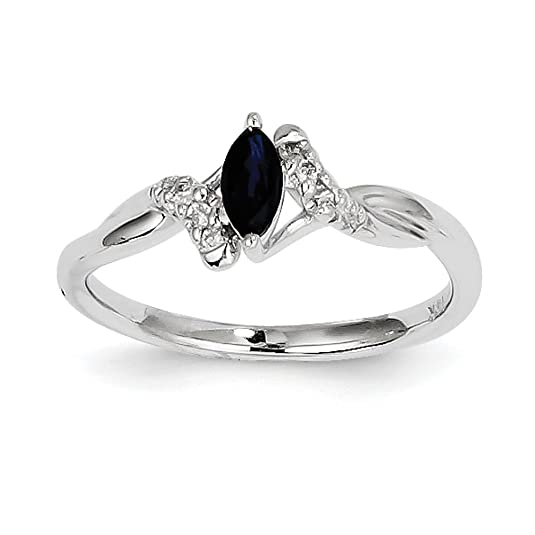 14ct White Gold Rough Diamond and Sapphire Ring