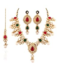 I Jewels Traditional Gold Plated Jewellery Set With Maang Tikka For Women IJ252RG (Red & Green)