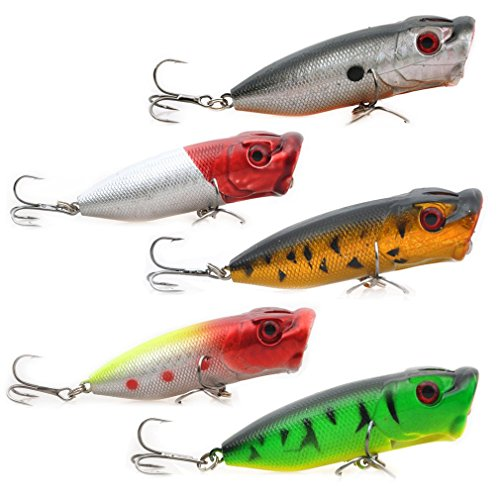 Up-to-45-offLot-5pcs-046-ounces-256-inches-Fishing-Lures-Floating-Topwater-Popper-Poper-Lure-with-Hooks-Crankbait-Hard-Bait