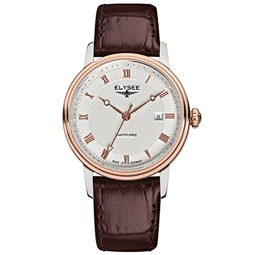 ELYSEE Made in Germany Monumentum Lady 77009L 31mm Gold Plated Stainless Steel Case Brown Calfskin Synthetic Sapphire Women's Watch