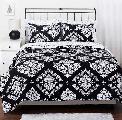 White Damask Bedding 2659 back