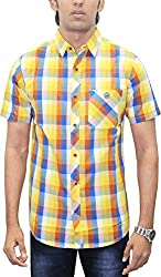AA' Southbay Men's Multi Yellow & Blue Checks 100% Premium Cotton Half Sleeve Business Casual Shirt