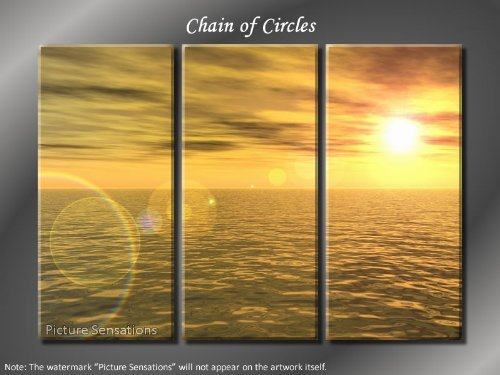 Framed Huge 3 Panel Horizon Ocean Chain of Circles Giclee Canvas Print