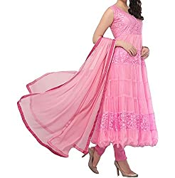 Decent World Pink Brasso Net Wedding Dress Material
