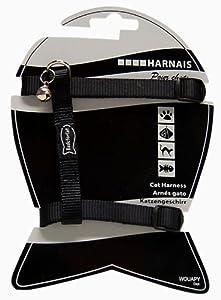 Harnais réglable noir pour chat Cou 16/28 cm Poitrail 22/35 cm/Wouapy Basic Line