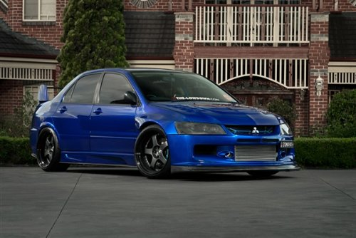 mitsubishi-evo-blue-right-front-widebody-on-black-wheels-hd-poster-36-x-24-inch-print