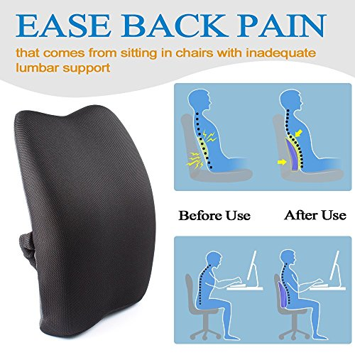 Adjustable Bed Upper Back Pain : Mkicesky orthopedic memory foam lumbar back support