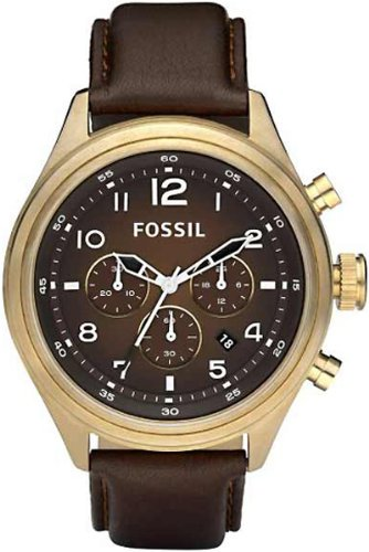 Fossil Dress DE5002 Leather Watch Brown with Vintaged Bronze