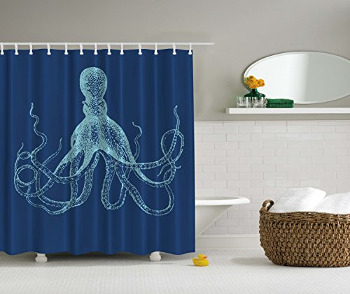 Blue Octopus Fish Beach Ocean Fabric Shower Curtain Bathroom