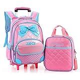 JUSHIS かわいい キッズ キャリーケース&リュックのセット 2way バッグ トロリー 旅行 鞄 女の子 kids 子供用リュック(Pink)
