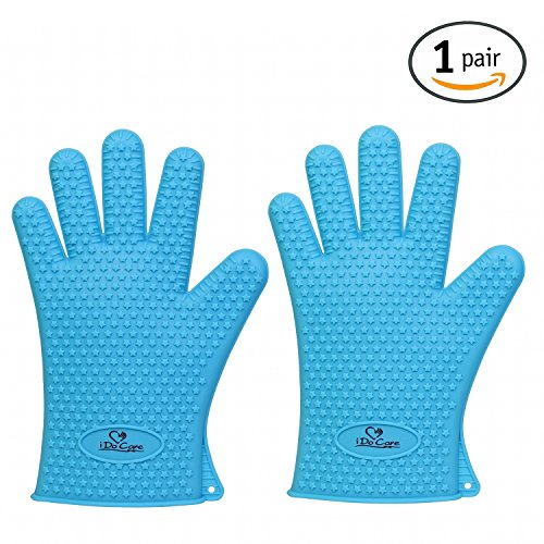 iDoCare Heat Resistant Silicone Gloves BBQ Grilling Gloves Oven Mitts - Most Flexible & Waterproof - Best For Cooking, Baking, Frying, Smoking, Potholder & Barbeque - For Men and Women - Blue (Small Oven Stone compare prices)