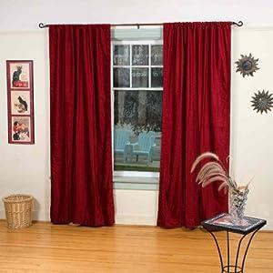 Burgundy Rod Pocket Velvet Curtain Drape Panel 43w X 108l Piece Window