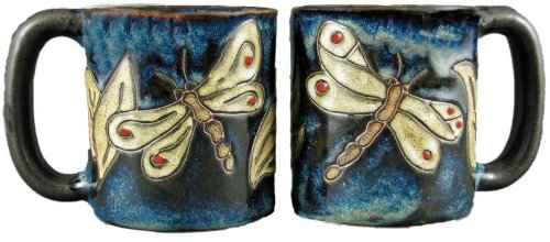 Set Of Two (2) Mara Stoneware Collection - 16 Oz. Coffee Cup Collectible Dinner Mugs - Dragonfly Insect Design