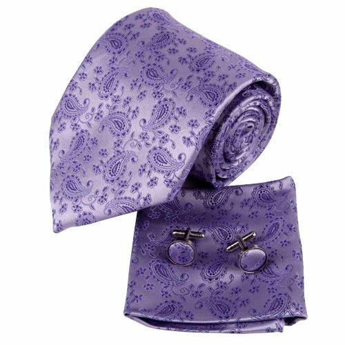 H7051 Purple Pattern Groom Presents For Designer Silk Ties Cufflinks Hanky Set 3PT By Y&G