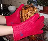 Oven Mitts - Meat Claw Silicone Gloves Barbeque Set - Best Cooking Gloves Heat Resistant - With Bear Paw Meat Handlers Bonus - This Bear Claw Meat Shredder Is Superb in Making Sandwiches - 100% Satisfaction Guaranteed Red