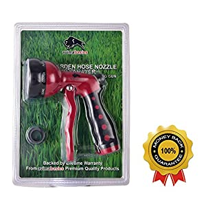 BEST Premium Durable Garden Hose Nozzle - Hand Sprayer Heavy Duty 8 Adjustable Pattern Metal Watering Gun - High Pressure - Perfect for Garden Plants Lawn Car Wash Cleaning Washing Dogs & Pets