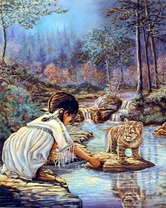 Indian Girl with Cub J Chardon Native American Art Print Poster (16x20)