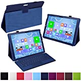 HDE Slim Fit Leather Protective Folio Case Cover Stand for Microsoft Surface Pro 3 12 inch Tablet (Blue)