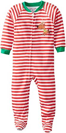 Sara's Prints Little Boys' Footed Pajama, Red/White Stripe, 2