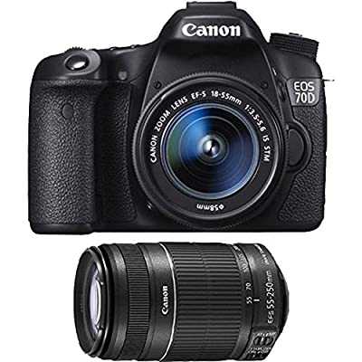 Canon EOS 70D 20.2 MP DSLR Camera with EF-S 18-55mm IS STM and Dual Pixel CMOS AF + Canon EF-S 55-250mm f/4.0-5.6 IS II Telephoto Zoom Lens
