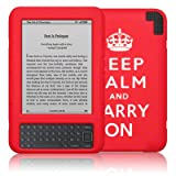 Amazon Kindle 3 Red/White Keep Calm & Carry On Lasered Silicone Skin / Case / Cover / Shell