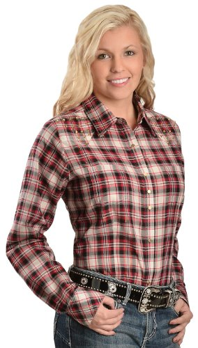 Wrangler Women'S Rock 47 Studded Yoke Plaid Lurex Western Shirt Red Xx-Large