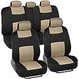 BDK Classics - Black & Beige Mesh Cloth Seat Covers - Split Option Bench - Full Set