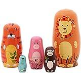 "Jollylife 5pcs Nesting Doll Handmade Wooden Cute Cartoon Animals Pattern 6"""