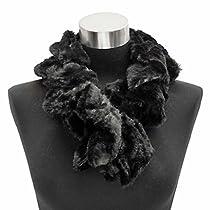 Luxury Divas Black Twisted Faux Fur Plush Neck Warmer Scarf