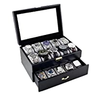 Black Classic Watch Case Display Box With Clear Glass Top Holds 20 Watches from Caddy Bay Collection