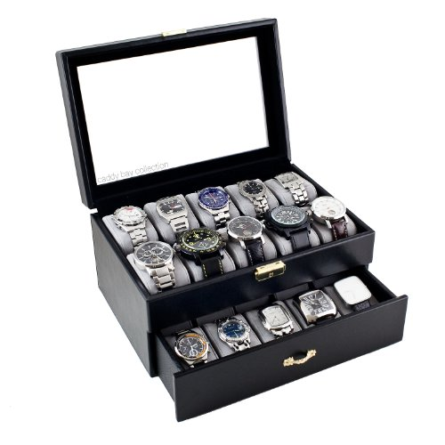 Black Classic Watch Case Display Box With Clear Glass Top Holds 20 Watches
