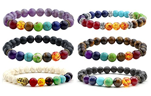 Top Plaza 7 Chakra Stone Healing Energy Crystal Gemstone Beads Bracelet, 8MM - Pack of 6