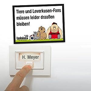 Anti-Leverkusen-Klingelschild - Gladbach-, Köln-, und alle Fußball-Fans aufgepasst. Witziges Geschenk für Freunde, Kollegen, Geburtstage und Partys - Klingelschilder, Büroschilder, Türschilder, Warnschilder, Hunde Verbotsschilder Zutrittsschild, Eing