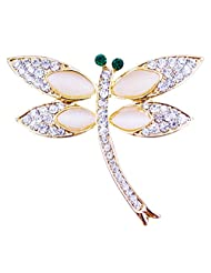 Silver Shoppee Vivacious You 21K Yellow Gold Plated Cubic Zirconia And Opal Studded Alloy Brooch