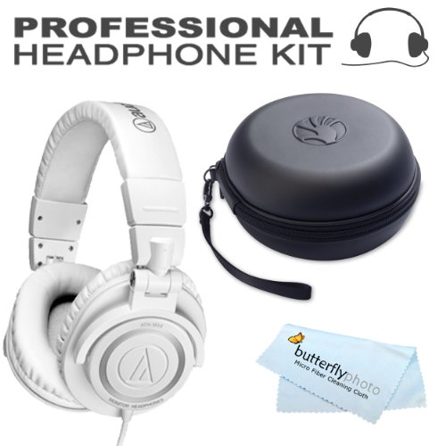 Audio-Technica Ath-M50Wh Professional Studio Monitor Headphones With Coiled Cable, White + Bonus Slappa Sl-Hp-01 Headphone Case
