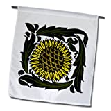 3dRose fl_62985_1 Arts and Crafts Style Sunflower Plant Garden Flag, 12 by 18-Inch