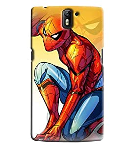 Blue Throat Spider Man Sitting Printed Designer Back Cover For OnePlus One