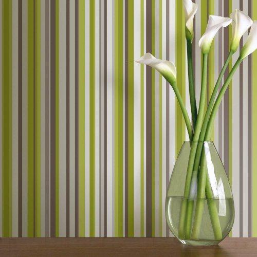 Sophia green stripe wallpaper arthouse from arthouse for Lime green wallpaper for walls