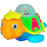 PRESENTSALE Happy Turtle Toy, Moves In & Around Battery Operated - With 3D Dream Lighting / Sound- Yellow, Green Multicolour