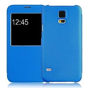 JAMMYLIZARD | Fenster Flip Case Hülle für Samsung Galaxy S5, BLAU