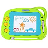 Magnetic Drawing Board Mini Travel Doodle, Erasable Writing Sketch Colorful Pad Area Educational Learning Toy for Kid / Toddlers/ Babies with 3 Stamps and 1 Pen (Green) (Color: Green)