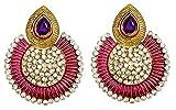 Dhwani Creation Stylish Earrings for Giirls and Women (Pink With Purple)