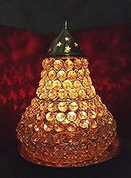 Rastogi Handicrafts BIG Brass Akhand Diya Diamond Crystal Deepak Dia Akhand Jyot , Magical Lantern Brass Diya Brass oil Lamp , Brass diyas puja lamp