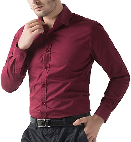 Men 39 S Casual Dress Shirt Button Down Shirts Wine Red L