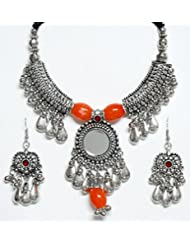 DollsofIndia Metal Necklace With Gorgeous Pendant And Earrings - White Metal - White - B00RHSQDW2