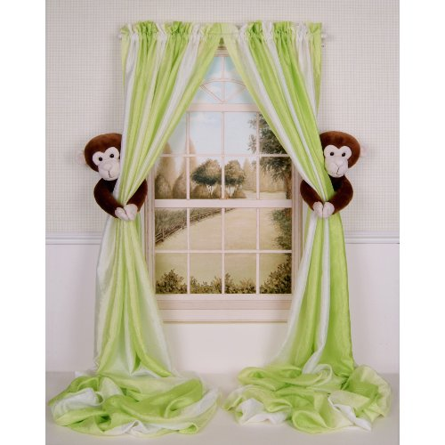 Curtain Critters Plush Jungle Safari Chocolate Monkey Curtain Tieback, Car Seat, Stroller, Crib Toys Set (2)