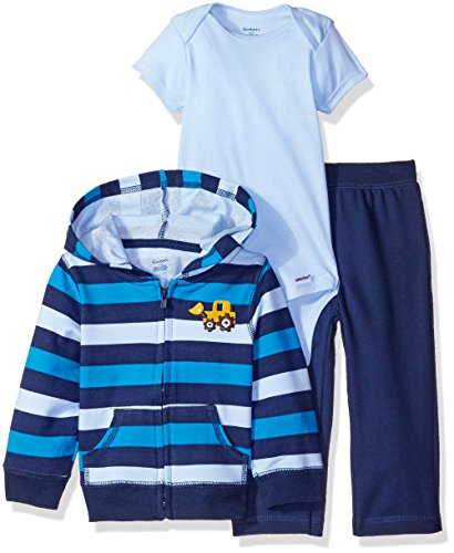 Gerber Boys' 3 Piece Hooded Jacket Bodysuit and Pant Set, Bulldozer, 3-6 Months