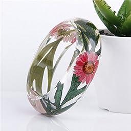 Lucite Handmade Real Flower Botanical Garden Jewelry resin bangle bracelet. {50} Size 64mm,height 23mm.
