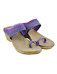 "Diovanni ""Ladys Day Out In Lavender"" Wave-pattern Ethno Designer Wedges - B00SFPMA1Y"